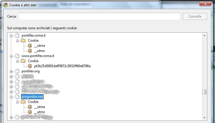 Gestione dei Cookies di Chrome
