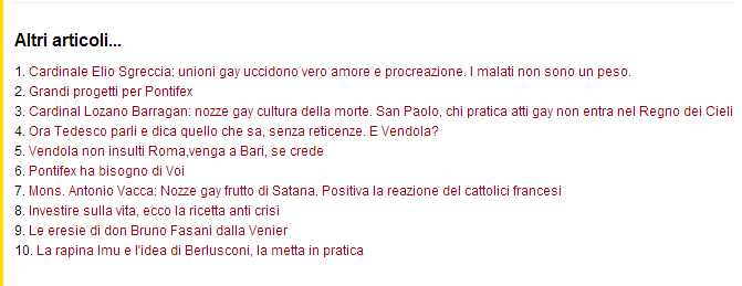 Gli articoli di Pontifex in questi ultimi due giorni.