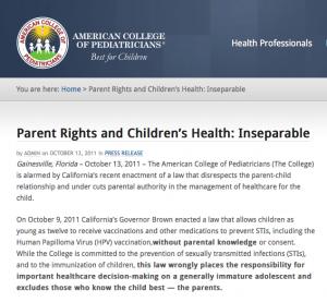 ACPeds vs diritto salute minori