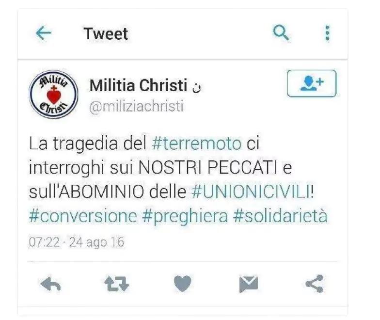 Milizia Christi terremoto